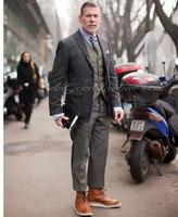 Новейший дизайн пальто брюки твид серый коричневый мужской костюм на заказ жених свадьба Slim Fit best man Костюмы 3 шт. куртка брюки жилет