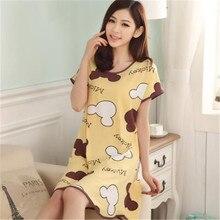 Summer Women Cartoon Sleepwear Leisure Short Sleeve Nightgowns Printing clothes Nightdress S6