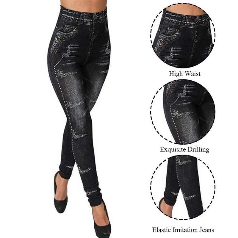 Pantalon de Yoga sans couture Leggings jean pour femmes taille haute maigre pousser crayon pantalon grande taille S-3XL extensible mince Rivet pantalon