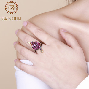 Image 2 - Gemmes BALLET en argent Sterling 925, 1,00 ct, bague ouverte en Rhodolite naturelle, fleur de Rose, Bijoux pour femmes, bague ajustable, fait à la main