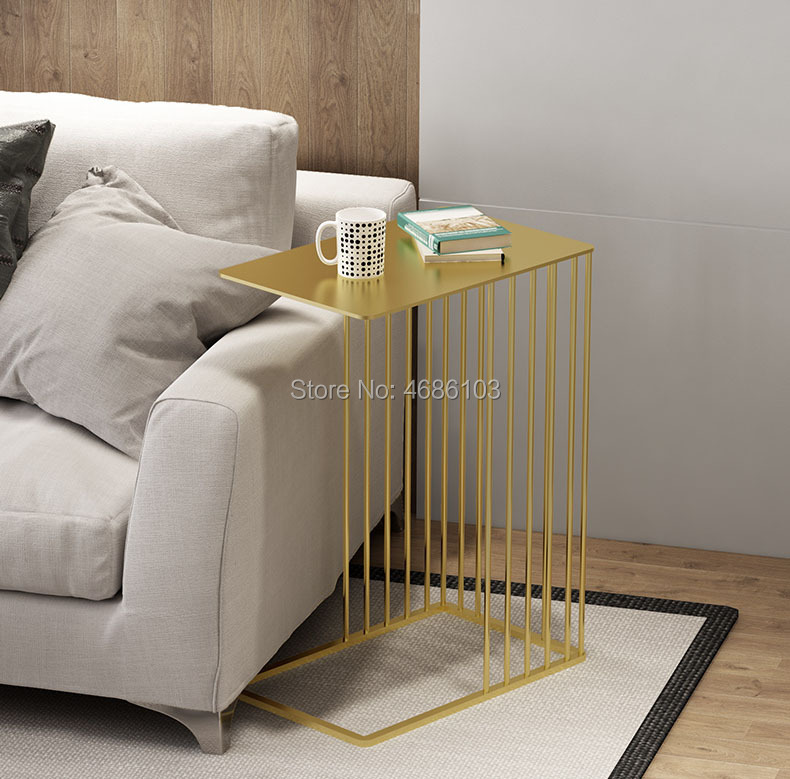 US $118.0 |Luxury gold Creative wrought iron coffee table modern minimalist  small table bedroom bedside table sofa side corner-in Coffee Tables from ...