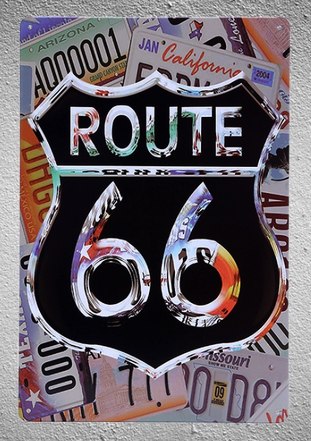 1 piece Route 66 US Cars License Tin Plate Sign wall Room man cave Decoration Art Dropshipping Poster metal in Plaques Signs from Home Garden
