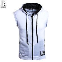 Sleeveless Men Hooded Pullover Zipper Solid Cardigan Hoodie Slim Teens Tops Off White Sweatshirts Street Wear Oversized XXXXL