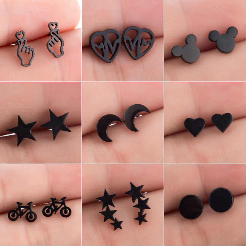SMJEL Stainless Steel Earrings Mickey Women Men Hip hop Black Star Moon Stud Earring Fashion Jewelry Best Gift for Friend Girl