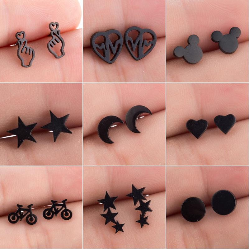 SMJEL Stainless Steel Earrings Mickey Women Men Hip Hop Black Star Moon Stud Earring Fashion Jewelry Best Gift For Friend Girl