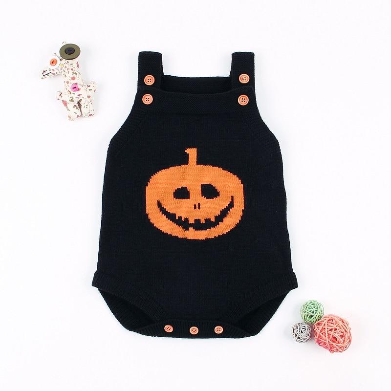 Black Halloween baby romper pumpkin-1