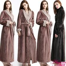 Woman Long Robe Winter Thick Warm Robes Coral Fleece Sleepwear BathRobe Felmale Hotel Spa Plush Bath Nightgown Kimono