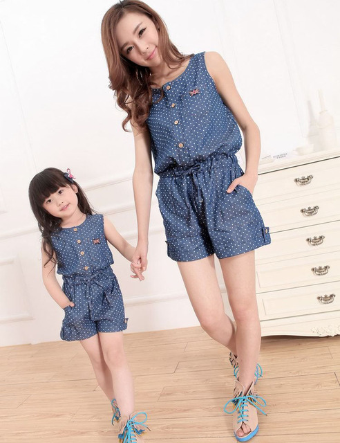 2016 Summer Mother Daughter Jeans Jumpsuit Matching Mother And Daughter Clothing Family Matching Clothes Vestido Mae E Filha Dot