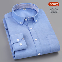 2019 New Solid Oxford Dress Shirt with Left Chest Pocket Male Casual Casual Design Plaid Social 100% Cotton Mens Long Sleeve
