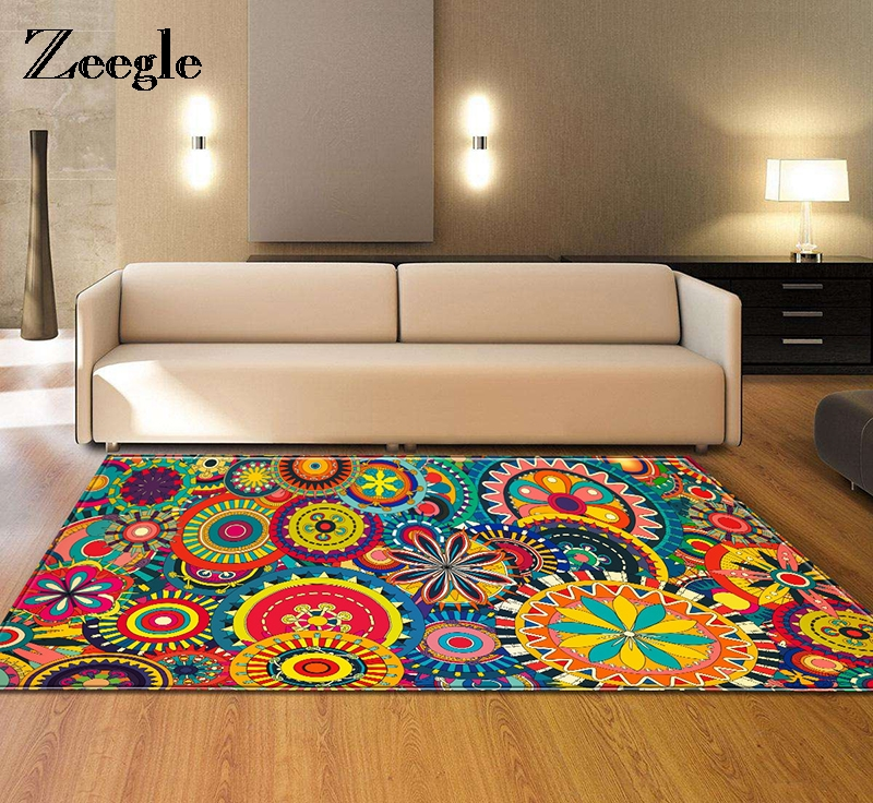 Zeegle Child Baby Bedroom Carpet for Living Room Carpets Colorful Bedroom Rugs Floor Mat Home Decor Carpet Rug Bedside Rugs