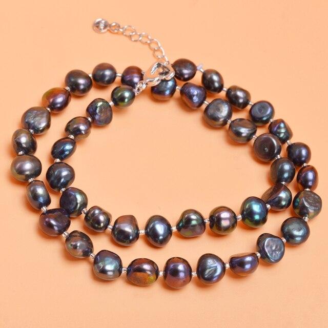 ASHIQI Reale Barocco Collana di perle 9-10mm perle D'acqua Dolce naturale della perla gioielli per le donne regalo