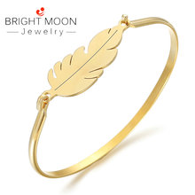 Bright Moon Trendy Women Accessories Silver Gold Leaves Color Stainless Steel Bangles Bracelets Retro Designer Jewelry Luxury