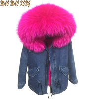 Brand 2016 Autumn Winter Jacket Coat Women Holes Denim Jacket Real Large Raccoon Fur Collar Detachable