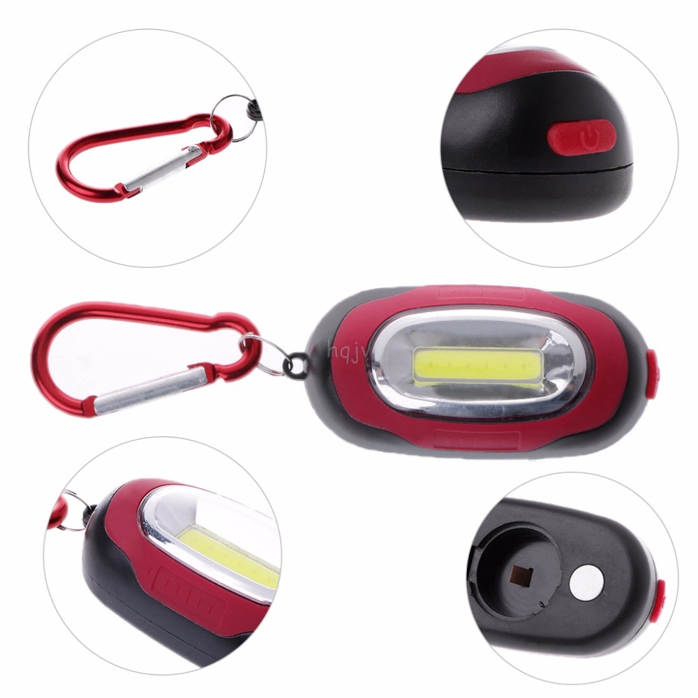 COB LED Flashlight 3-Mode Mini Lamp Key Chain Ring PVC Lamp Torch Repair lights Repair Lamp MAY22 dropshipping
