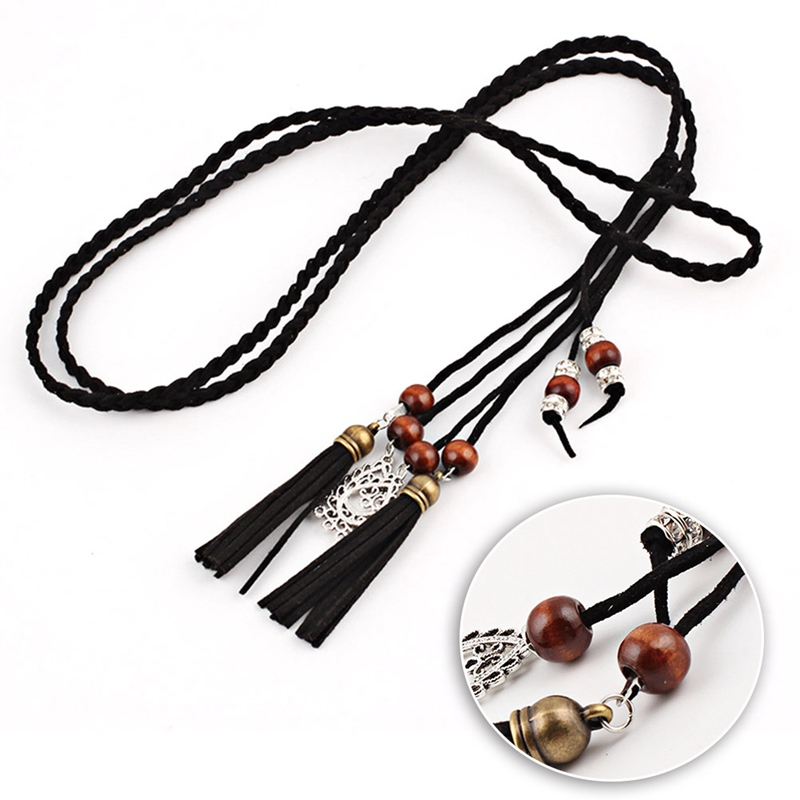 New Stylish Hand-woven Versatile Rope Women Long Waist Chain Tassel And Dangles Fashion Dress Belts Accessories