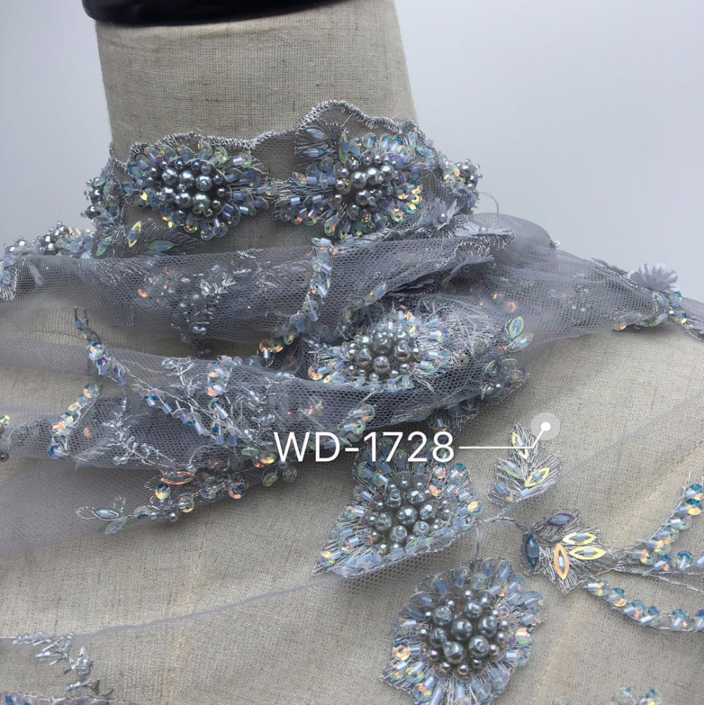 Lourd en trois dimensions fleurs à la main perlé africain français dentelle tissu sur Tulle broderie mariée robe de mariée dentelle tissus