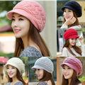 New Women's Beanie Trim Warm Winter Rabbit Fur Crochet Knit Ski Wool Peaked Hat