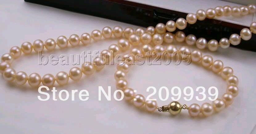 Huij 002065 натуральный 8 9 мм AAA жемчужные наборы ожерелье и браслет 14k