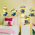 Despicable me 2 cute cartoon minions wall stickers for kids rooms decorative adesivo de parede removable pvc wall decal 1404
