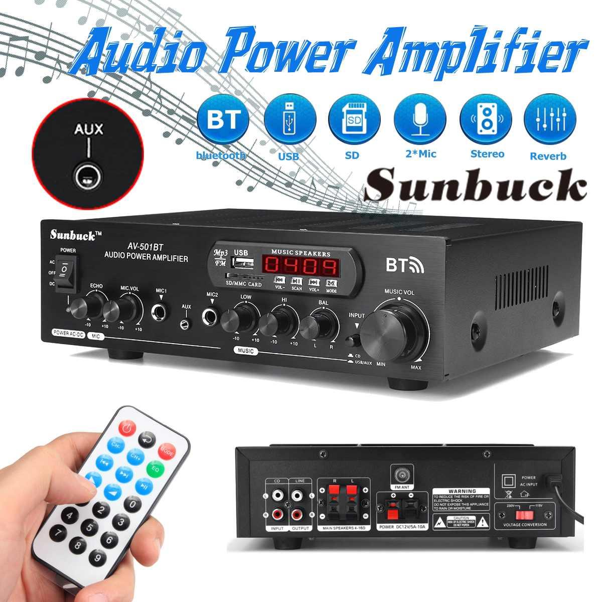 1200W 12V/110V-220V Home Car Bluetooth Power Amplifier With Remote Control HiFi Stereo Digital AMP 2x Mic AUX USB SD Card Input