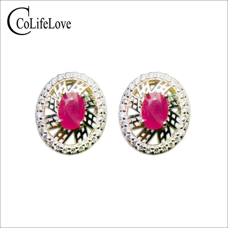 все цены на Fashion silver ruby stud earrings for weddings 4 mm * 6 mm natural ruby wedding earrings 925 silver ruby jewelry birthday gift онлайн