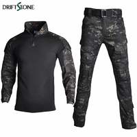 Camouflage RU Military Tactical Uniform Clothing Men US Army Combat Clothes Set Paintball Airsoft Shirt And Cargo Pants No Pads