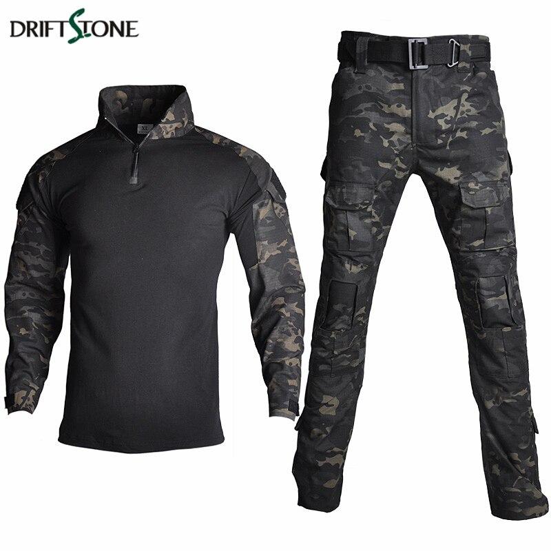 Camouflage RU militaire tactique uniforme vêtements hommes US armée de Combat vêtements ensemble Paintball Airsoft chemise et Cargo pantalon pas de coussinets