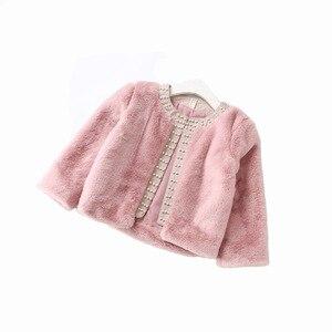 Image 5 - Baby Meisjes Kleding Warme Bont Bunny Faux Bontjassen Parels Meisjes Bovenkleding & Jassen Kinderen Peuter Tops Winter roze wit 2 6Y
