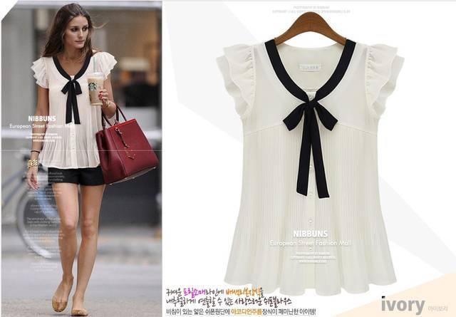 ebb2876f21 2015 nova moda chiffon camisa das senhoras blusa de babados manga curta  elegante laço plus size