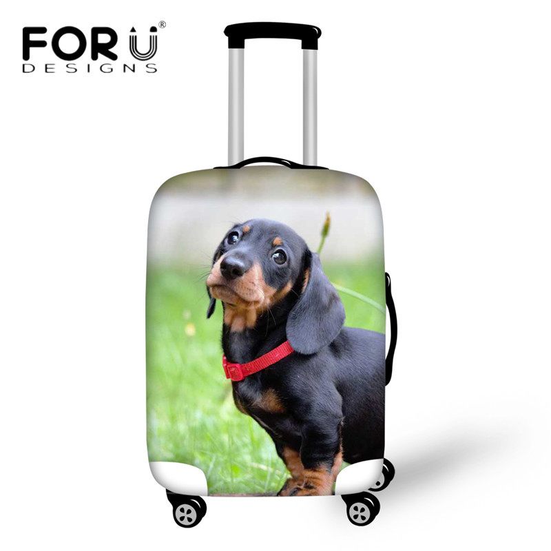 FORUDESIGNS Cute Animal Luggage Cover Dachshund Dog 3D Printing Dust Rain Covers for 18-30 Inch Trolley Case Travel Accessories