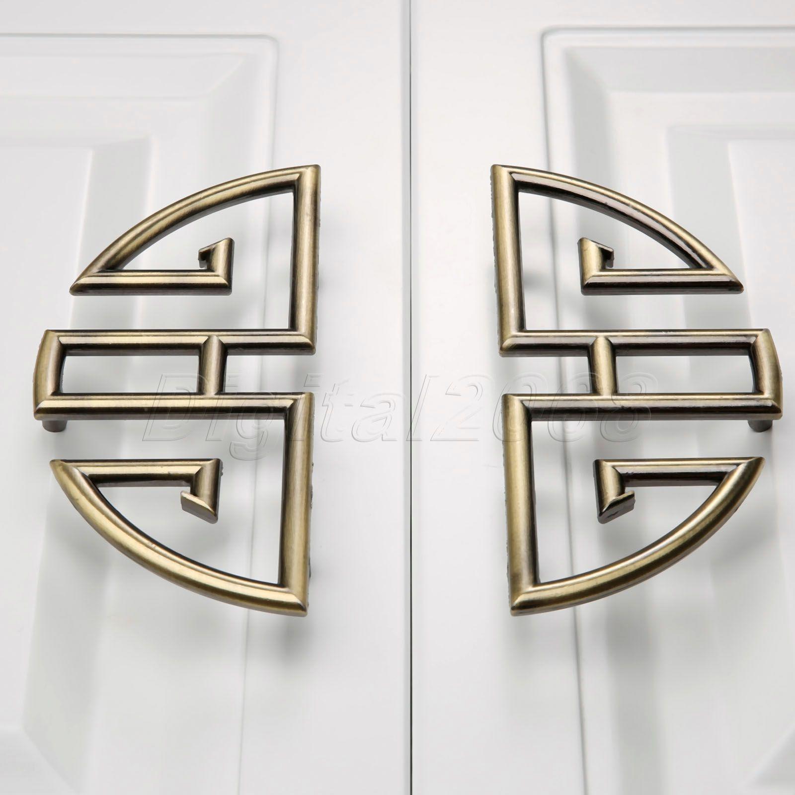 Contemporary door knobs and handles - 1 Pair 96mm Vintage Furniture Cupboard Wardrobe Handles And Knobs Antique Bronze Alloy Kitchen Cabinet Door Drawer Pull Handle