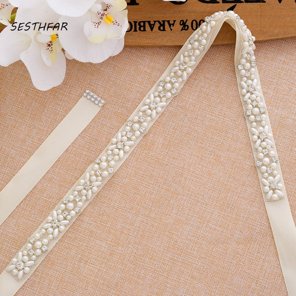 Pearls Wedding Belt Handmade Crystal Bridal Sash Simple Silver Rhinestones Bridal Belt Sash For Wedding DressesJ133S