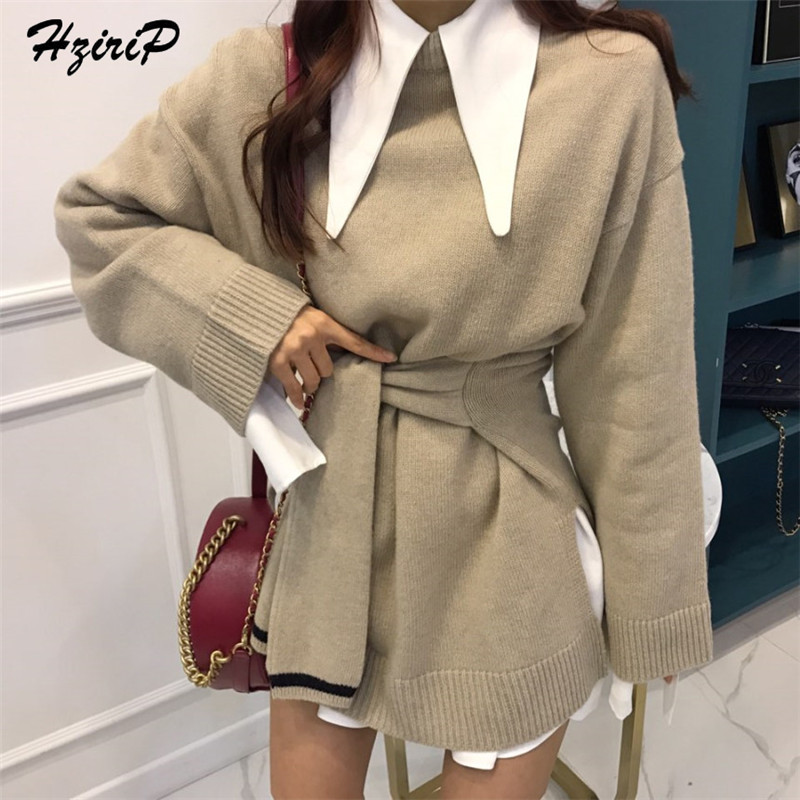 HziriP Autumn Winter High-Quality Women Sweetest Knitted Fashion Comfortable Sweater New Long Sleeve Pullover Solid Female Tops