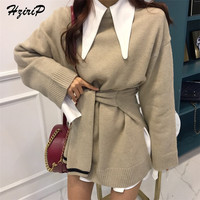 HziriP Autumn Winter High Quality Women Sweetest Knitted Fashion Comfortable Sweater New Long Sleeve Pullover Solid Female Tops