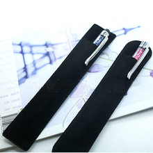 Black Flocking Cloth Pencil Bag Fountain Pen Case Multifunction School Stationery Pencil Case Gift for Girl Boy Student(China)