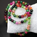 Natural agate round beads 6mm multicolor popcorn multilayer strand beaded bracelets elegant jewelry 18inch B2894