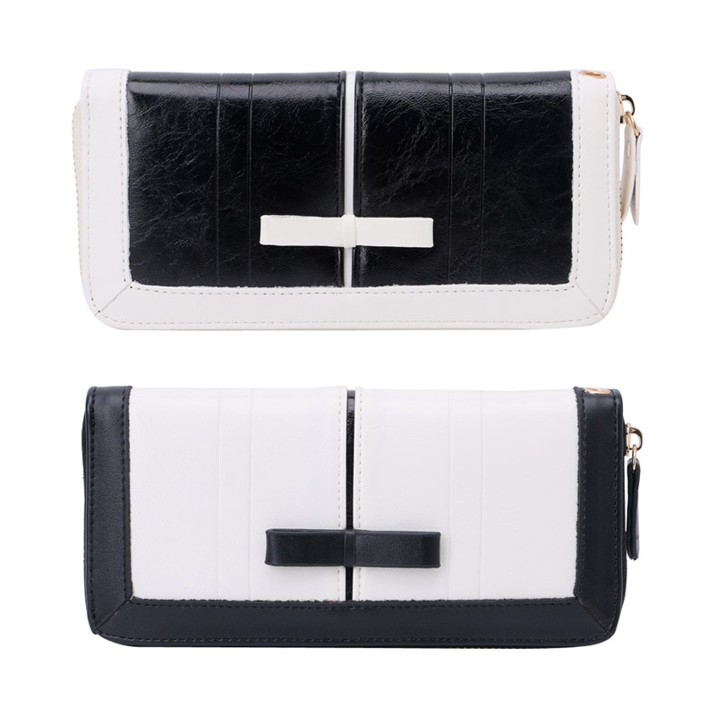 Fashion Lady Women Bowknot Purse Long Wallet Bag Faux Leather Card Holder Bag Black White Standard Wallet Classic Large Capacity faux leather bowknot uncle moon choker