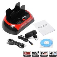 "2.5"" 3.5"" IDE SATA USB 2.0 Dual External HDD Enclosure Hard Drive OTB Disk Docking Station EU Plug AC350"