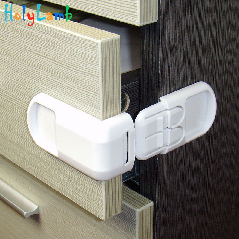 Double Button Drawer Door Lock Multifunctional Children's Safety Lock Kids Safety Care Plastic Strap For Cabinet Child Safety