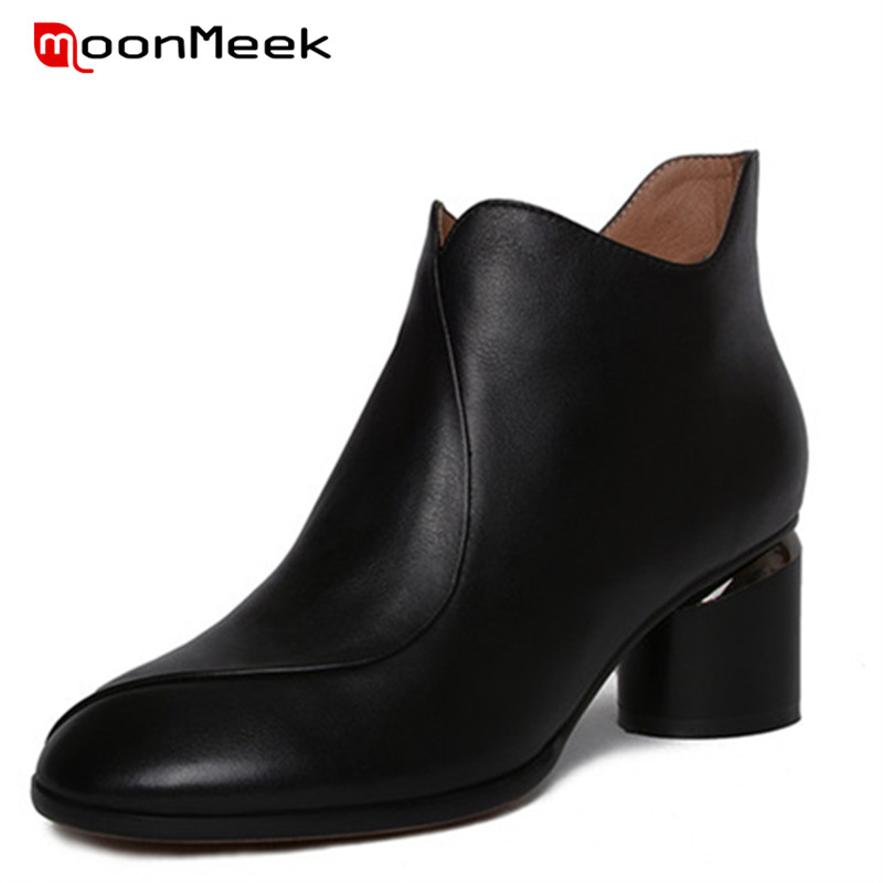 MoonMeek new arrive autumn winter ladies boots simple woman ankle boots high heels genuine leather boots poplar round toe shoesMoonMeek new arrive autumn winter ladies boots simple woman ankle boots high heels genuine leather boots poplar round toe shoes