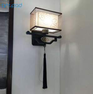 Image 5 - Artpad Traditional Chinese Vintage Bedside Lamp Embroidery Fabric Lamp Shade LED E27 Metal Sconce Wall Lights Hallway Lights