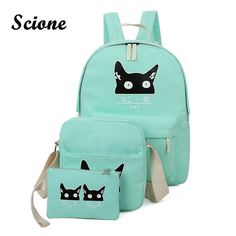 Harajuku Cute Cat Printing Women Canvas Backpack Fashion Teenage Girls Bookbags Student School Bags Laptop Backpack