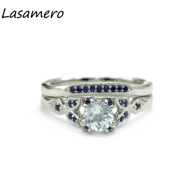 Lasamero Rings For Women 0 50ct Round Cut Natural Topaz 925 Silver Engagement Wedding