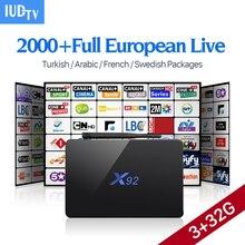 IPTV Европа Smart Android 6.0 TV Box iudtv подписки S912 3 г 32 г H.265 французский турецкий итальянский арабский IPTV Топ телевизионный приемник