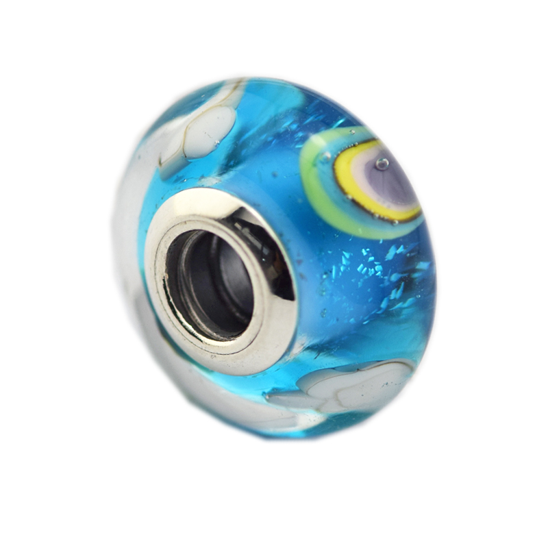 Iridescent Rainbow Charm Murano Glass Silver Beads for Jewelry Making Fit Original Charms Bracelets & Bangles