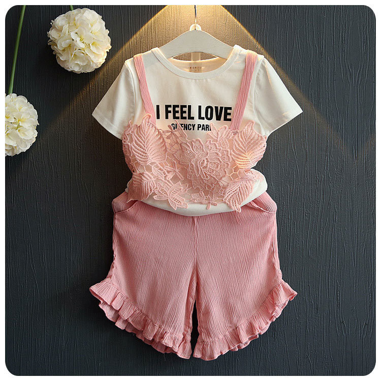 2016 Summer Korean Children's Garment 2 Pieces Set New Pattern Girl Baby Lace Letter T-Shirt Jacket Culotte Wide Leg Pants Suit 2017 new pattern small children s garment baby twinset summer motion leisure time digital vest shorts basketball suit