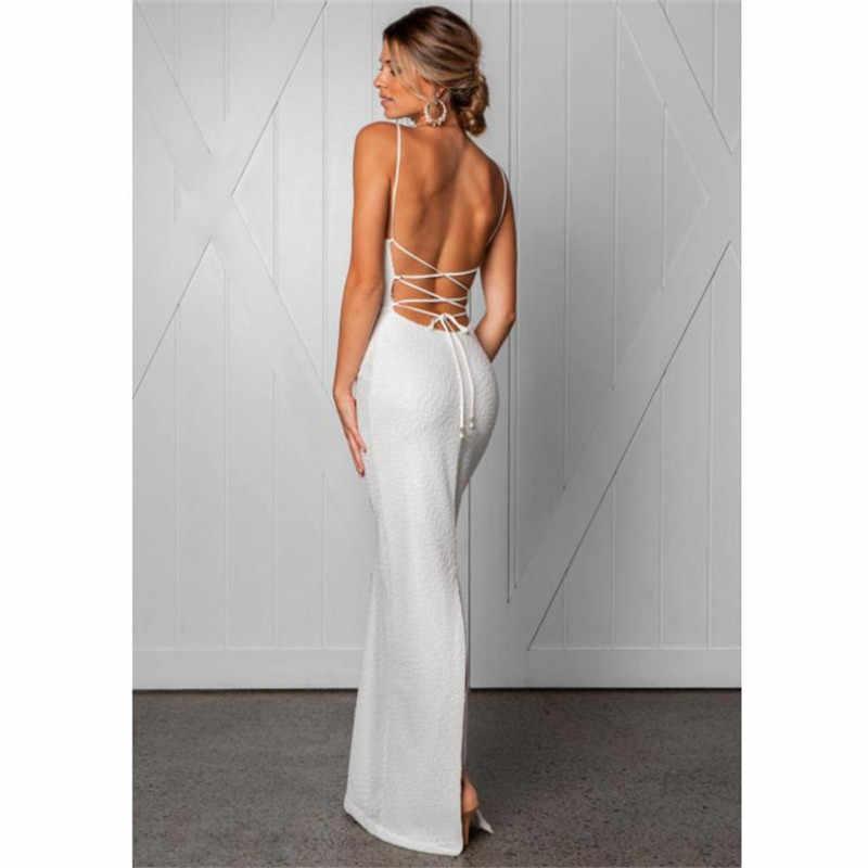2018 женское летнее сексуальное и Клубное платье с переплетением спинки Bodycon винтажные элегантные вечерние Макси белые платья