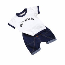 2019 New Hot 2PCS Suit Summer Children Boys Girls Clothes Sets Kids Cotton Letter Short Sleeves T-Shirt Toddler Child Clothing цены онлайн