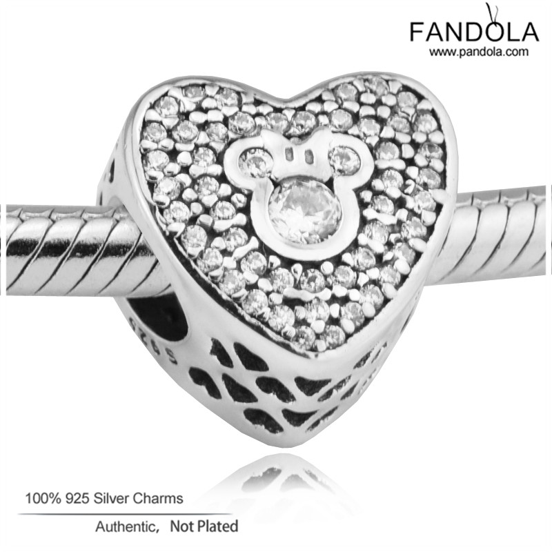 Authentic 925 Sterling Silver Sparkling Heart Mouse Charm  Beads Fit Charm Silver 925 Bracelet Jewelry MakingAuthentic 925 Sterling Silver Sparkling Heart Mouse Charm  Beads Fit Charm Silver 925 Bracelet Jewelry Making