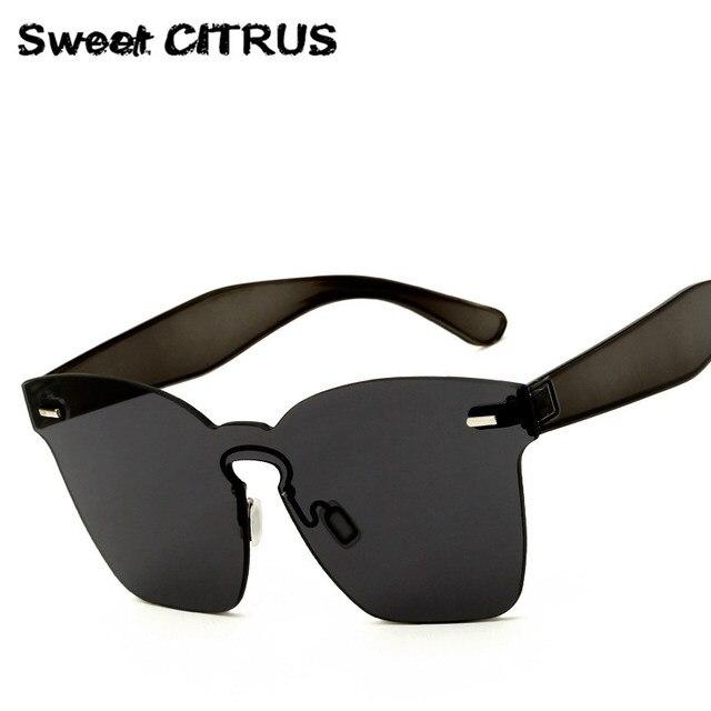 81cf1b60194a8 CITRUS doce Quadrado Lente Plana Óculos De Sol Dos Homens Da Marca Sem Aro  Mulheres Espelho